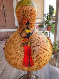 Afrikalı kızlar su kabağı lamba #gourd #lamp #handmade #handcrafted #color #homedecor #homedecorideas