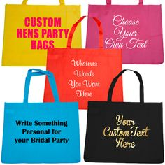 Custom and Personalised Hens Party Tote Bags Budgeting, Reusable Tote Bags, Bridal, Party, Bride, Brides, Budget, Receptions, Parties