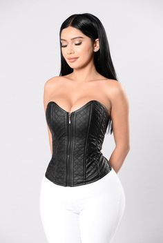 Available in Black Corset Sweetheart Neckline Front Zipper Closure Lace Up Back Diamond Quilt Stitching Vegan Leather Cotton, PU, Elastane Girl Fashion, Fashion Show, Black And White Tuxedo, Leather Lingerie, Budget Fashion, Fashion Ideas, Girls Selfies, Black Corset, Brunette Girl