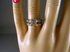 1940s Diamond Wedding Ring Set Size 65 White by estatejewelryshop, $375.00