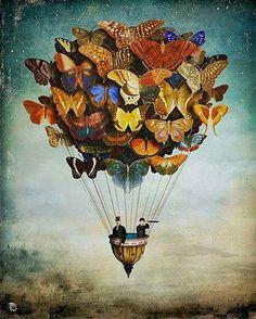 balão com borboletas