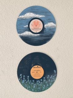Vinyl acrylic painting ▷ creative and useful upcycling ideas for ins . - Vinyl acrylic painting ▷ creative and useful upcycling ideas for ins …, Vinyl acrylic pai - Aesthetic Room Decor, Aesthetic Painting, Aesthetic Art, Aesthetic Drawing, Art Cd, Tuscan Wall Decor, Record Wall Art, Cd Wall Art, Mountain Paintings