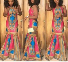 Dashiki dress Pink dashiki dress dashiki by AfricanclothingStore