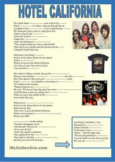 As a tribute to one of my favourite groups and songs a small missing word activity i designed in 10 minutes when I heard about Glenn Frey' s death, pupils complete the missing words and sing along - ESL worksheets