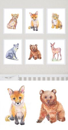 Woodland Nursery Decor Art Set of 6 Prints Watercolor Painting Boy Girl BabyAnimals Wall art Watercolour Print Creatures, forest animals  Set of 6 prints -   high quality fine art prints of my original watercolor painting. It is the work of a watercolor series Portraits of the Heart    Size paper: 14,8 × 21cm,5 4/5 × 8 1/4, A5 (with white borders) - 36.00 $  21 cm x 29,7 cm, 8 1/4 x 11.5/8, A4.(with white borders) - 68.00 $  29,7cm × 42cm, 11,69 × 16,54, A3(with white borders) - 122.00 $…