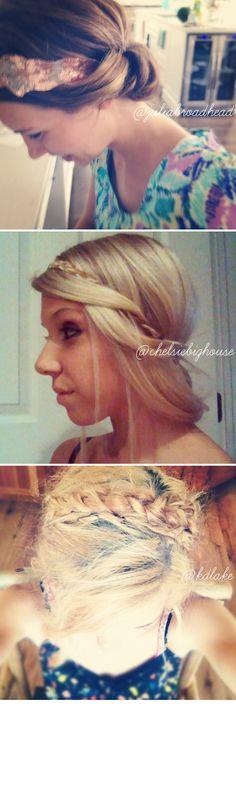 Hair tutorials, braided crown, headband, two minute tuck, simple styles, loose updo