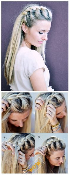 DIY Stunning French Braid Hairstyles -Half Up Side French Braid Hairstyle Tutorial