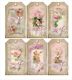Digital collage sheet vintage, instant download, Shabby Charm Tags 20…