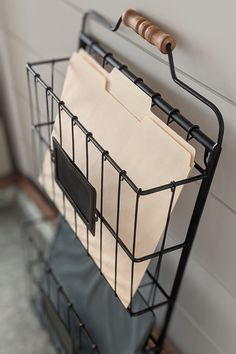 Absolutely love this farmhouse inspired wire organizer. The perfect way to get organized in the new year in a chic and stylish way! Wall File Holder, Hanging File Organizer, Hanging File Folders, File Organiser, Family Organizer, Porch Wall Decor, Bathroom Wall Decor, Bedroom Wall, Room Decor