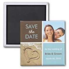 Blue and Brown Photo Save the Date Magnets Blue and brown color block photo Save the Date magnets, with your choice of 1 or 2 photos. Leave bottom photo as is, if you wish. Cool color block design in blue and brown. Enter your information in our easy-to-use template.