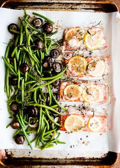 grilled salmon with fresh lemon butter, green beans and button mushrooms