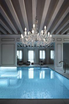 52 + Best Indoor Swimming Pool Design Ideas For Your Home Murano Chandelier, Outdoor Chandelier, Chandelier Lighting, Outdoor Lighting, Crystal Chandeliers, Water Lighting, Bathroom Lighting, Italian Lighting, Luxury Lighting
