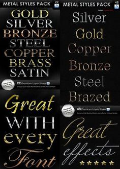 Various Metal Word With Different Font PSD Template