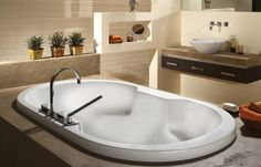 "66"" x 36"" OCEANIA SO66 SOPHIA DROP-IN OVAL SOAKER BATH TUB WITH ARM RESTS #Oceania"