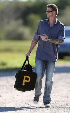 2014 Phillies Spring Training ~ AJ Burnett showing up to the 1st day with a Pirates duffle bag!!!  lol