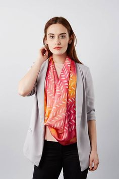 This pink silk scarf in the Early Rose colourway from my Dashing collection is a perfect gift for mum or wedding guest outfit accessory. This hand painted silk scarf has a geometric pattern of painterly dashes. Its a bold pattern that goes well with both plain colours and prints. Wear with prints in the same colour range, or with plain colours. Add a pop of colour to your every day.  One-of-a-kind hand painted scarf, not a printed fabric  Square scarf, 90 x 90 cm (or 35 x 35 inches approx.)…