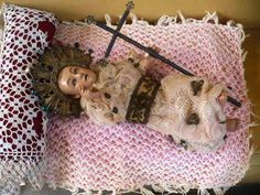 Spanish Colonial Holy Child Jesus Of Plaster Of Paris With Glass Eyes 18th
