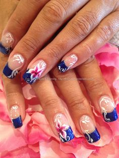 One stroke nail art with freehand nail art