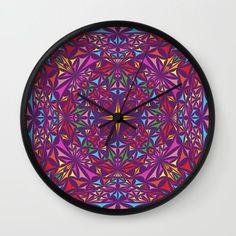 Kaleidoscope Wall Clock by davidzydd Bedroom Decor, Wall Decor, Wall Art, Cool Clocks, Triangle Design, Wall Patterns, Wall Design, Wall Tapestry, Decorative Plates