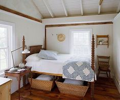 Country Catchalls Wicker baskets are the storage item of choice in a country home. Two baskets under the antique spindle bed hold extra linens and pillows, so you're always ready for guests. A classic blue-and-white quilt and pillows with blue ticking stripes add color to the simple bedroom.