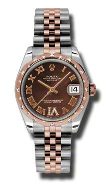 Rolex Datejust 31mm - Steel and Gold Pink Gold - 24 Dia Bezel - Jubilee (Style No: 178341 chodrj) from SwissLuxury.Com