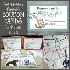 download a set of free printable fun activities coupon cards for kids money saving mom