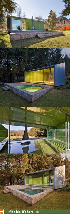 Modern Meditation Sanctuary blends in with nature.