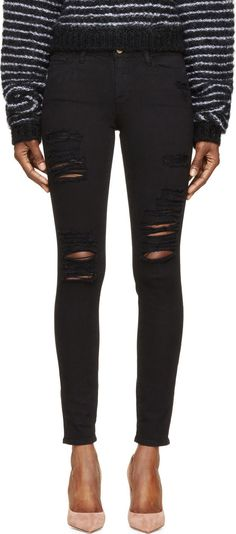 Frame Denim - Black Distressed Le Skinny de Jeanne Jeans