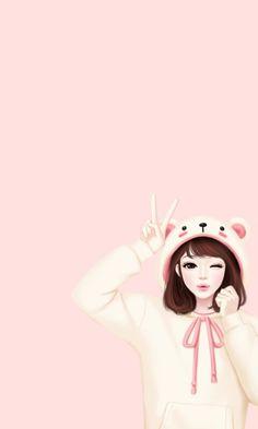 Imagen de girl, art, and kawaii. Korean Anime, Korean Art, Cute Girl Drawing, Cute Drawings, Korean Illustration, Wallpaper Fofos, Pattern Floral, Girly M, Lovely Girl Image
