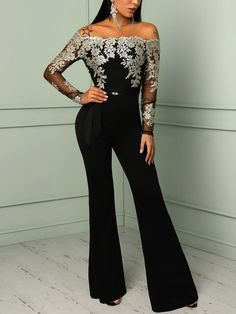 43bed05f0288 Shop Flower Embroidery Off Shoulder Wide Leg Jumpsuit – Discover sexy women  fashion at Boutiquefeel