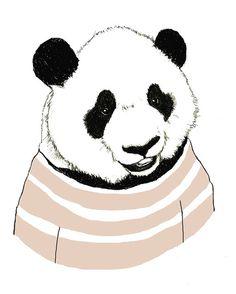 Children's Art  Panda Bears Love Stripes  Bear by corelladesign, $20.00