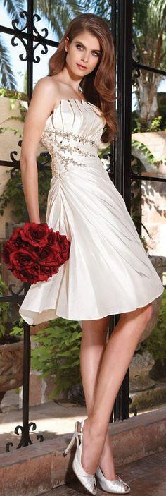 Knee Length Wedding Dress  Cute......!。◕‿    ◕。