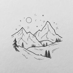 Night mountains Drawing Tips mountain drawing Mini Drawings, Cute Easy Drawings, Cool Art Drawings, Pencil Art Drawings, Art Drawings Sketches, Doodle Drawings, Tattoo Drawings, Easy Nature Drawings, White Board Drawings
