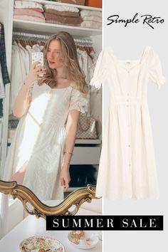 Floral Tea Dress, Retro Summer, Necklines For Dresses, Satin Slip, Chiffon Fabric, White Dress, Off Colour, Clothes For Women, Summer Sale