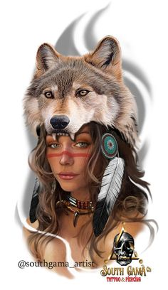 Indian Wolf, Have A Great Day, American Indians, Halloween Face Makeup, My Arts, Tattoos, Artist, Color, Fantasy Art