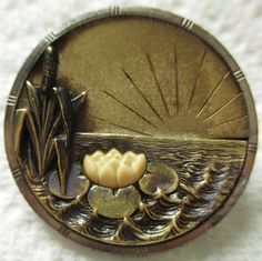 Victorian Metal Picture BUTTON w/ IVOROID Lily Pad & Sunrise