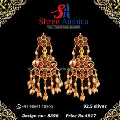 This pair of earrings in 92.5 silver and precious stones truly embody loveliness and class..check them out here from Shree Ambica - Your Trusted Silver Jewellers. Pick this for the upcoming festive/wedding season. Readily available in stock For Price and Details Message on - +919866110500 #ShreeAmbica #tustedJewellers #SilverJewellery #indianbride #indianwedding