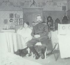 Marie and Nicholas in Olga/Tatianas bedroom.  Marie is in a whhelchair due to measles. 1917