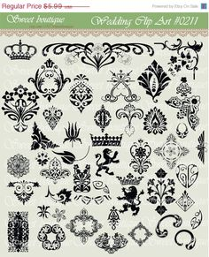 30 OFF SALE Vintage Calligraphy Clip Art Clipart by MSweetboutique, $4.31