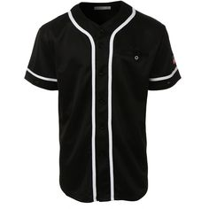 LE3NO Mens Active Varsity Short Sleeve Button Down Baseball Jersey ($25) ❤ liked on Polyvore featuring men's fashion, men's clothing, men's apparel, mens baseball jerseys and mens clothing