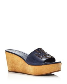 New Tory Burch - Women's Ines Wedge Platform Slide Sandals. Sport Sandals, Slide Sandals, Metallic Flip Flops, Wedges Outfit, Shorts Outfits Women, Block Sandals, Leather Flip Flops, Womens Slippers, Tory Burch