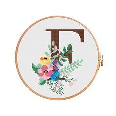 Beautiful botanical letter F cross stitch pattern letter