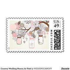 Country Wedding Mason Jar Pink Postage Stamps