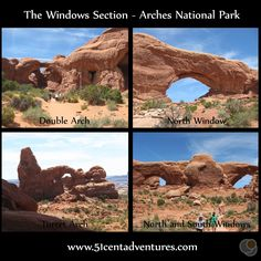 51 Cent Adventures: Arches National Park - Windows Section.  Easy place to see four arches all at once.
