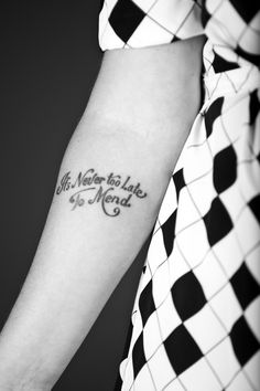 Lovely. I like the font and the idea of tattooing a personal motto, though I wouldn't do this exactly on myself.