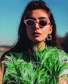 "The photo ""Neslihan Atagül - Elle Magazine Pictorial [Turkey] (April has been viewed 72 times. Best Actress, Best Actor, Round Sunglasses, Sunglasses Women, Justin Bieber Selena Gomez, Turkish Beauty, Turkish Actors, Turkish People, Elle Magazine"