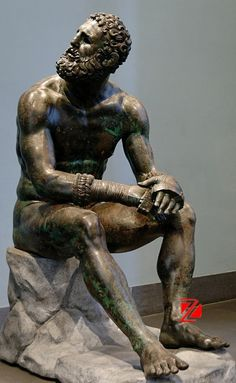 """Incredible Statue: """"The bronze Boxer of Quirinal, also known as the Terme Boxer, is a Hellenistic Greek sculpture dated around 330 B. of a sitting boxer with Caestus, a type of leather hand-wrap, in the collection of the National Museum of Rome"""". Roman Sculpture, Art Sculpture, Ancient Greek Sculpture, Ancient Art, Greek Statues, Ancient History, Hellenistic Art, Hellenistic Period, Sculpture Romaine"""