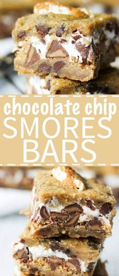 Chocolate Chip Cookie S'mores Bars What do you get when you put chocolate peanut butter chips, marshmallow fluff and graham crackers between two cookies? Death by delicious. And also chocolate chip cookie s'mores bars. Brownie Recipes, Cookie Recipes, Dessert Recipes, Dessert Ideas, Easy Desserts, Delicious Desserts, Yummy Food, Finger Desserts, Awesome Desserts