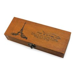 Retro Eiffel Tower Wooden Pen Pencil Jewelery Case Holder Stationery Box Storage: Amazon.co.uk: Office Products