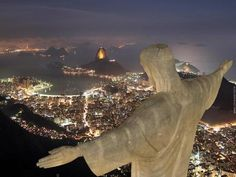 Christ the Redeemer statue is located at the top of Hunchback Mountain. You can see CopaCabana Beach, Sugar Loaf Mountain and the World Cup soccer field from this lofty perch.  In the early morning, the statue is shrouded in clouds.